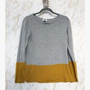 Old navy medium mustard grey color block sweater